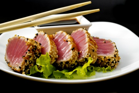 Plate with Ahi Tuna, soy sauce, and chopsticks